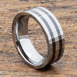 8mm vesta black inlay flat ceramic rings