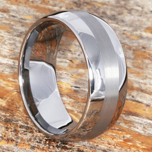 Aura Mens Brushed Inlay Rings
