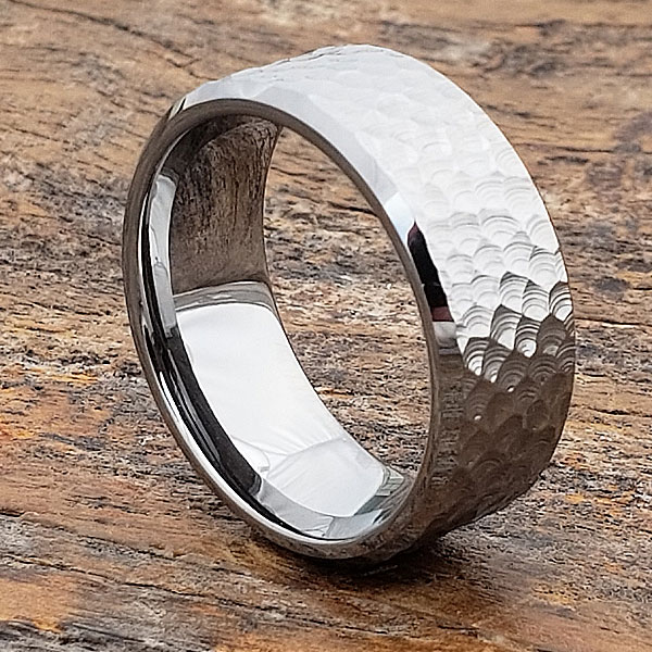 Hammered Rings Bright Silver Beveled Forever Metals