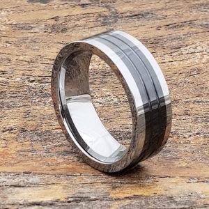 black inlay ceramic rings