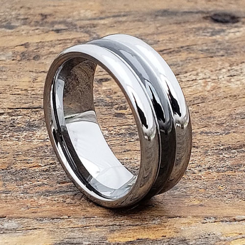 Mirage Black Inlay Ceramic Rings