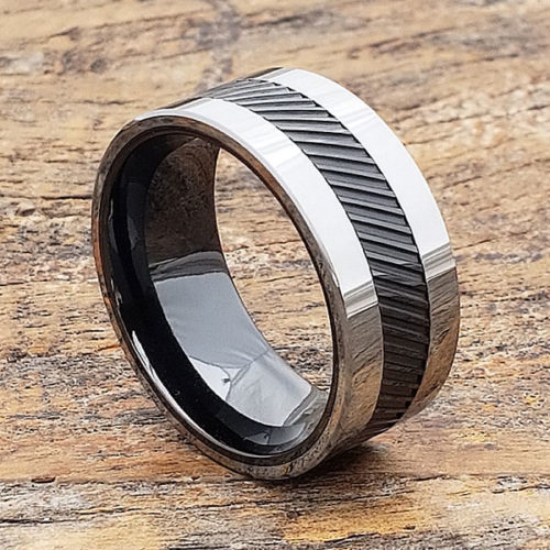 Hercules Black Inlay Ceramic Rings
