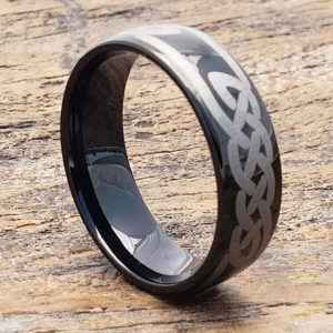 black knot carbide celtic rings