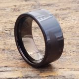 black laser engraved unique rings