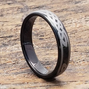 black tungsten knot celtic rings