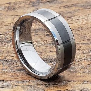 brushed black inlay ceramic rings