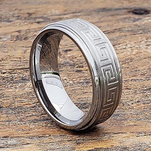 Greek Key Carved Signet Rings