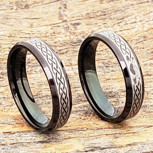 Clatter Promise Black Beveled Claddagh Rings