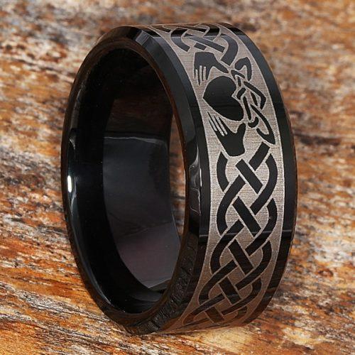 Clatter Promise Mens Irish Black Beveled Claddagh Rings