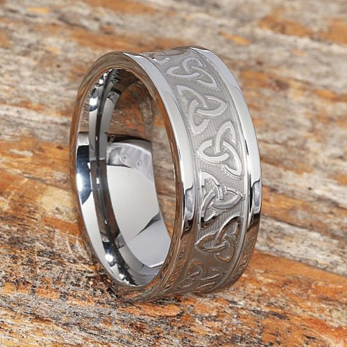 Conquest Carved Triquetra Trinity Signet Rings