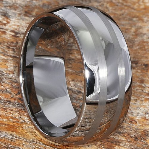 Corona Brushed Double Inlay Rings