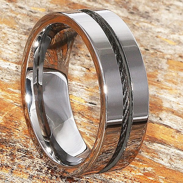 Corvus Mens Black Cable Polished Inlay Rings