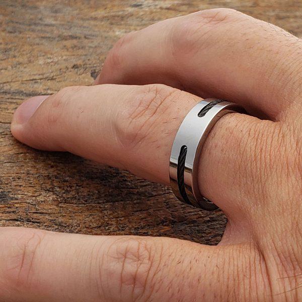 corvus-mens-black-steel-cable-6mm-inlay-rings