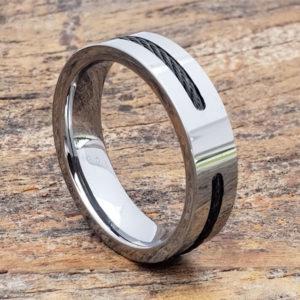 corvus mens black steel cable inlay rings
