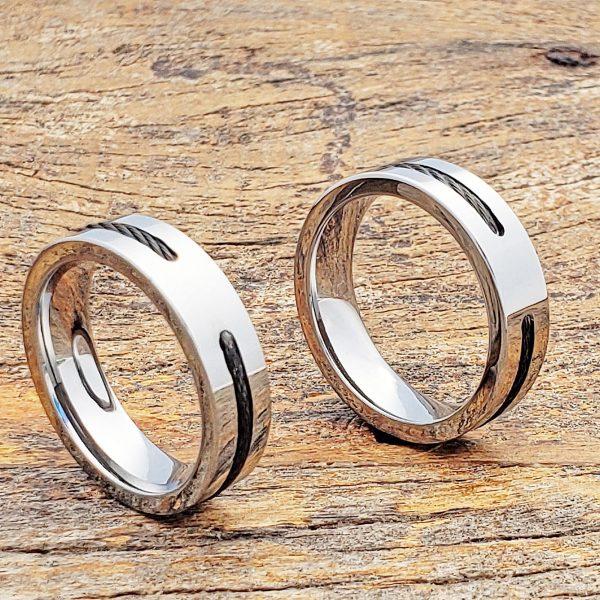 corvus-mens-black-steel-cable-inlay-rings