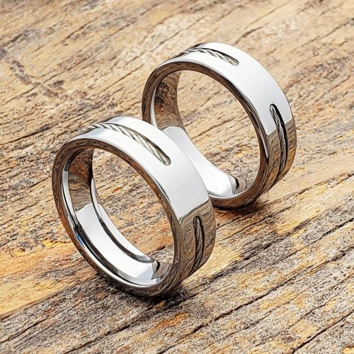 Corvus Silver Cable Inlay Rings