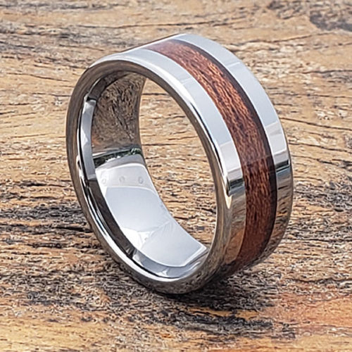 Neptune Flat Inlaid Wooden Rings
