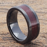 hera redwood black inlay flat wooden rings