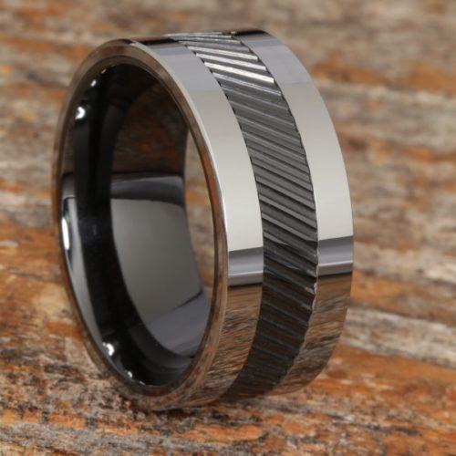 Hercules Black Inlay Ceramic Rings