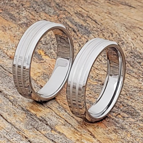 Leda Mens Beveled Inlay Rings