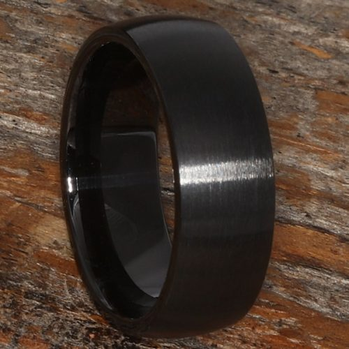 Manhattan Brushed Black Ceramic Rings