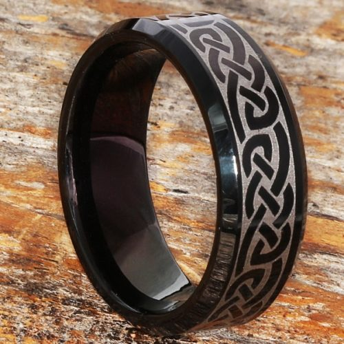 Medieval Irish Black Beveled Celtic Rings