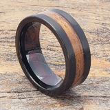 men black brushed wooden rings