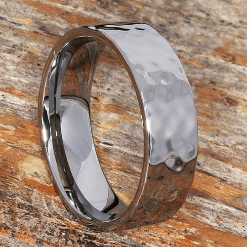 Mens Flat Hammered Rings