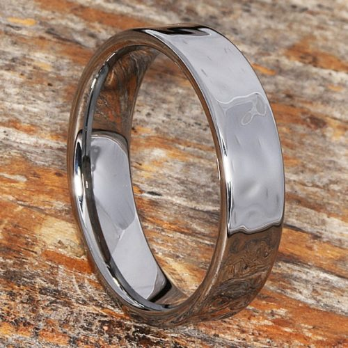 Mens Flat Tungsten Hammered Rings