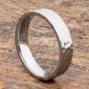 men tungsten hammered rings