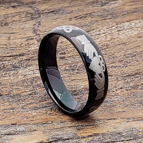 Helios Men's Black Knotwork Claddagh Rings