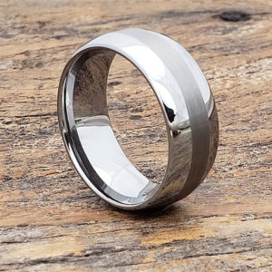 mens brushed inlay rings