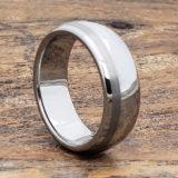 mens offset brush inlay ring