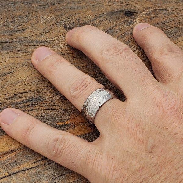 mens-peened-hammer-rings