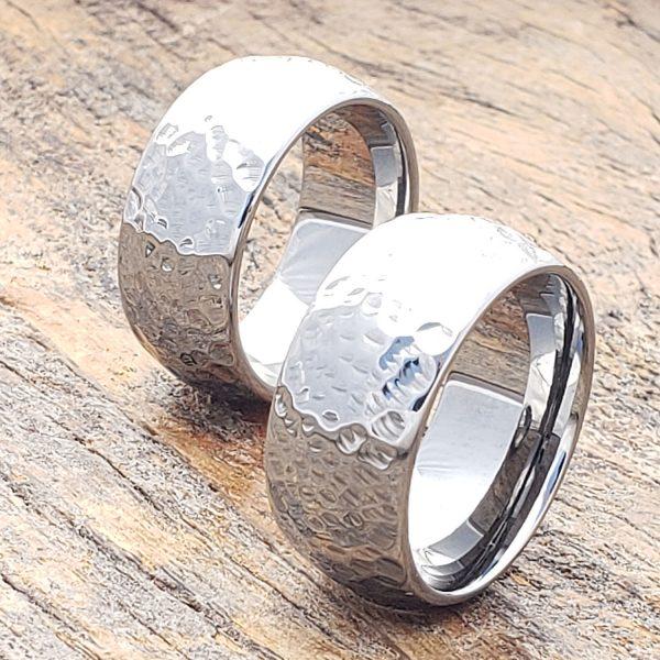 mens-peened-hammered-rings