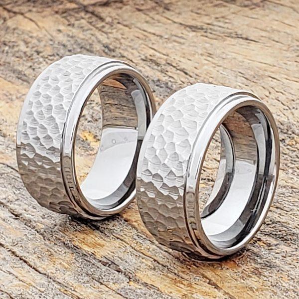 mens-polished-step-edges-hammered-rings