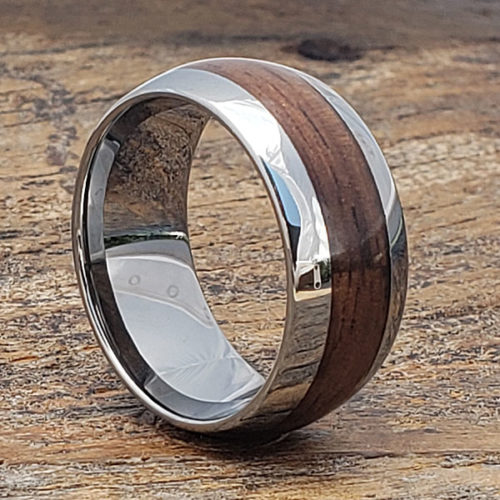 Neptune Mens Redwood Inlay Wooden Rings
