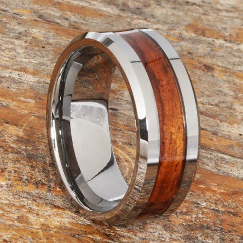 Neptune Mens Beveled Wooden Rings