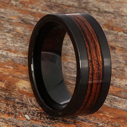 Neptune Mens Black Brushed Wooden Rings