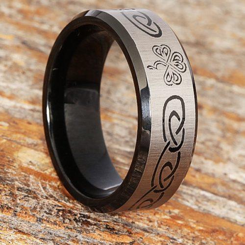 Shamrock Black Signet Rings