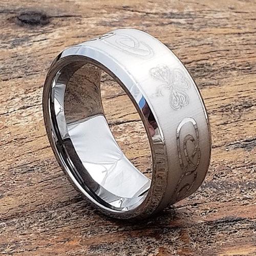 Shamrock Irish Signet Rings