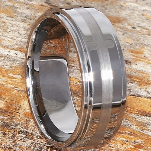 Sophisticate Carved Step Down Edges Inlay Rings