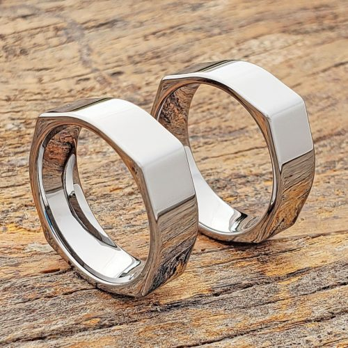 Squared Mens Polished Unique Rings