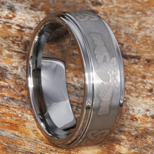 Titan Unique Celtic Brushed Claddagh Rings
