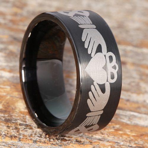 Triclops Best Friend Black Brushed Claddagh Rings
