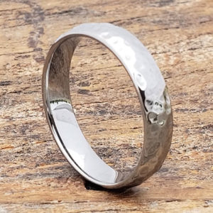 tungsten ultra polished hammered rings