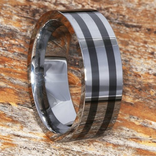 Vesta Black Inlay Flat Ceramic Rings
