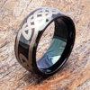 viking knot work black celtic rings