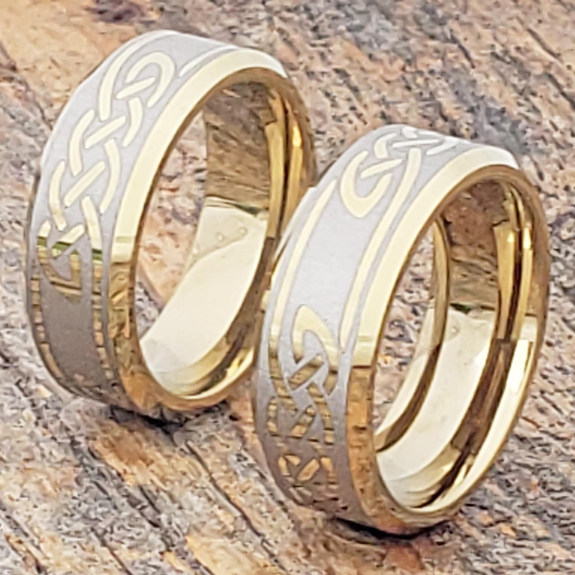 Viking Knot Work Gold Beveled Celtic Rings Forever Metals