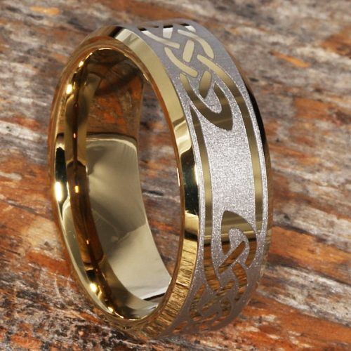 Viking Knotwork Gold Beveled Celtic Rings